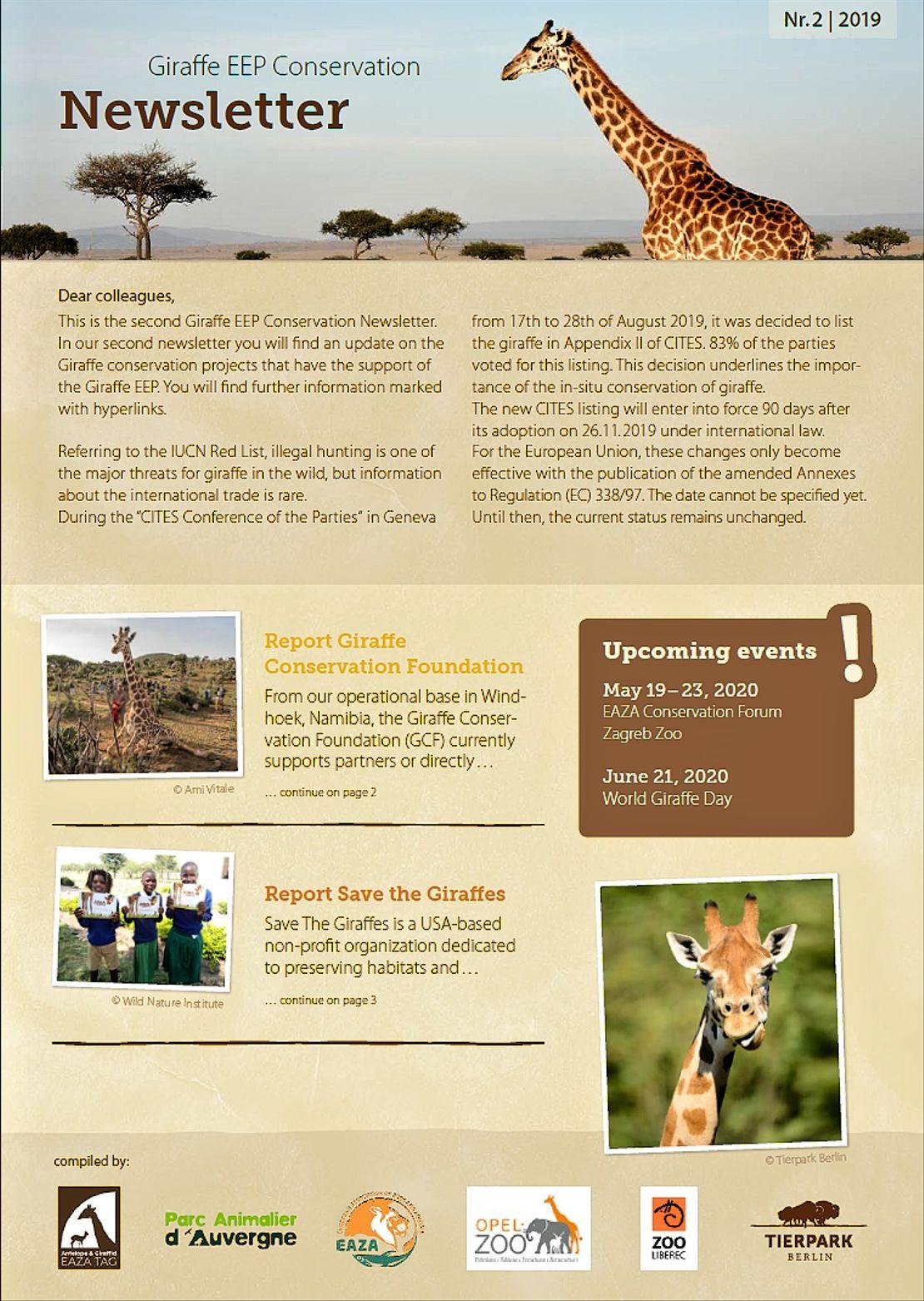 Druhý newsletter s tématikou ochrany volně žijících populací žiraf je na světě